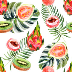 Watercolor tropical seamless pattern with pitahaya on a white background