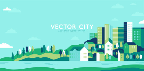 Poster Bleu clair Vector illustration in simple minimal geometric flat style - city landscape with buildings, hills and trees - abstract horizontal banner
