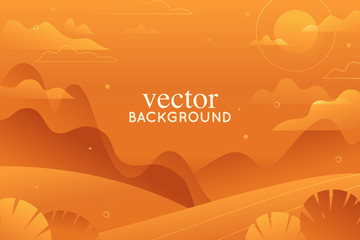 Vector illustration in trendy flat style and bright vibrant gradient colors - background with copy space for text - landscape with mountains, hills and plants