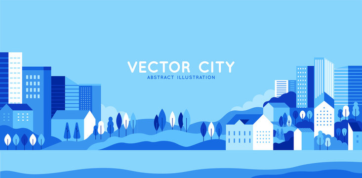 Vector illustration in simple minimal geometric flat style - city landscape with buildings, hills and trees - abstract horizontal banner