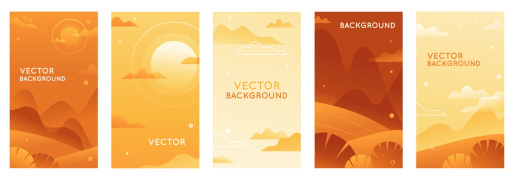 Vector illustration in trendy flat style and bright vibrant gradient colors with copy space for text - landscape with mountains, hills and plants - vertical banners
