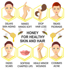 Honey for hair and skin health. Useful properties of honey. Infographics. Honey in cosmetology
