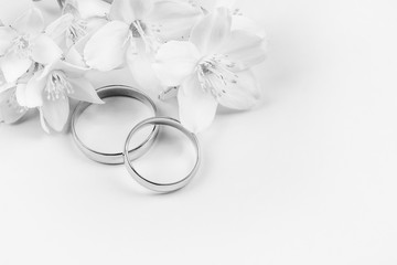 pair of gold wedding rings and white Jasmine flowers on white background with copy space, black and white photo