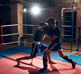 Muscular boxer training kickboxing with sparring partner in the ring at the sport club