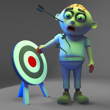 Undead zombie monster is not the target fool! 3d illustration