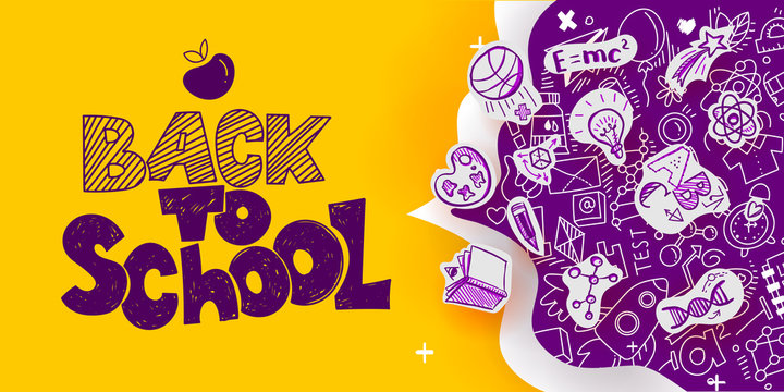Back to School banner with line art icons of education, science objects on paper art cut out icons. Vector hand drawn doodle illustration. Apple symbol of educationб hand lettering and ink drawings