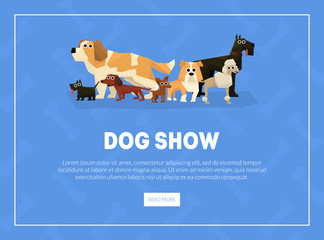 Dog Show Banner, Landing Page Template, Pet Show Competition Web Page Vector Illustration