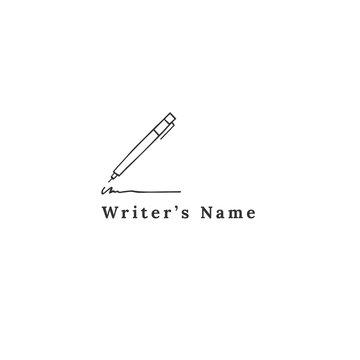 Writing, copywrite and publishing theme. Writing pen, vector hand drawn logo template.