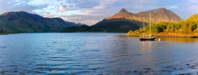 Panoramic scenery of beautiful Loch Leven  in sunset , Glencoe , Scotland