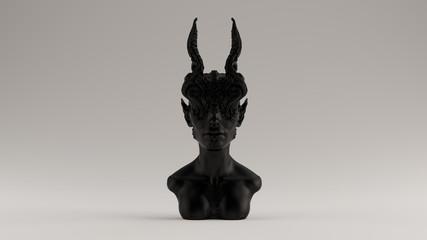 Black Antique Horned Demon Queen Statue Bust Front View 3d illustration 3d render Wall mural