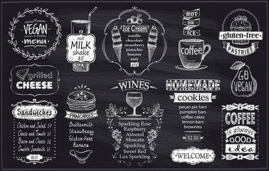 Chalkboard menu concept with vegan menu, gluten free meal, sandwiches, pancakes, wines, homemade cookies, etc.