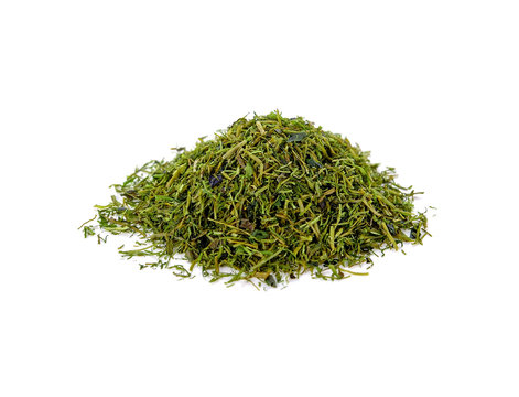 Dried Seaweed Powder isolated on white.