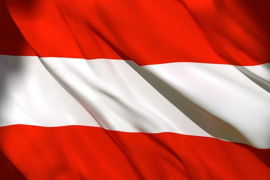 3d rendering of Austria flag