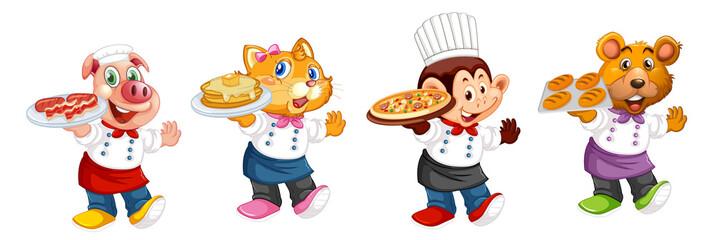 Set of animal chef character
