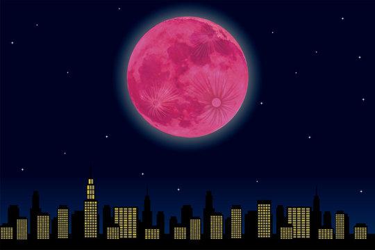都市の夜景とストロベリームーン(満月)のイラスト|super moon ベクターデータ 背景イラスト
