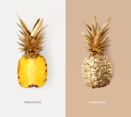 Creative layout made of gold pineapple.  Tropical flat lay. Food concept.
