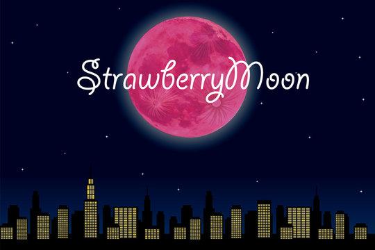都市の夜景とストロベリームーン(満月)のイラスト(文字有り)|super moon ベクターデータ 背景イラスト