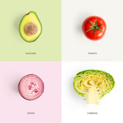 Creative layout made of avocado, tomato, onion and cabbage. Flat lay. Food concept.