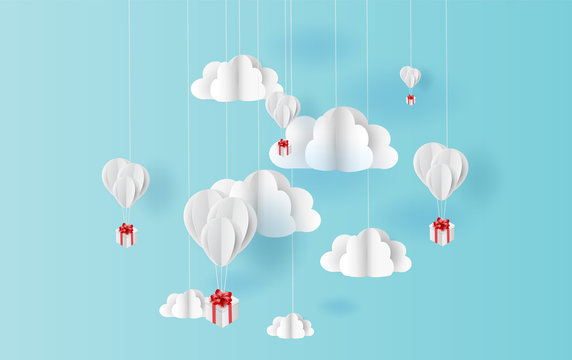 paper art style of white balloons color floating in air blue sky background.Creative design space for Christmas day,Festival,holiday,summer season,springtime.Good idea Pastel color.vector EPS10
