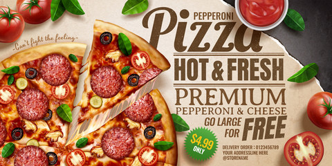 Obraz Pepperoni pizza ads - fototapety do salonu