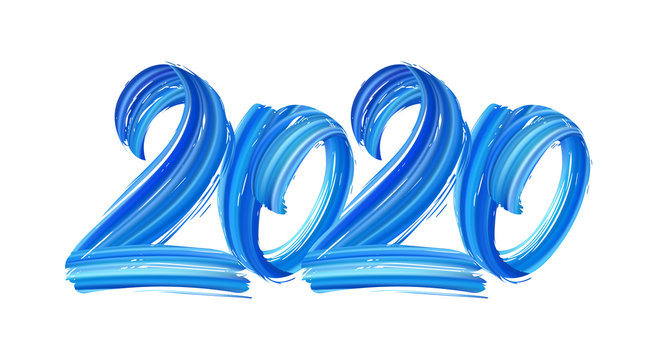 Hand drawn brush stroke blue paint lettering of 2020. Happy New Year
