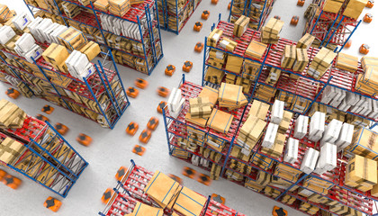 3d rendered image of a modern automated warehouse with drones