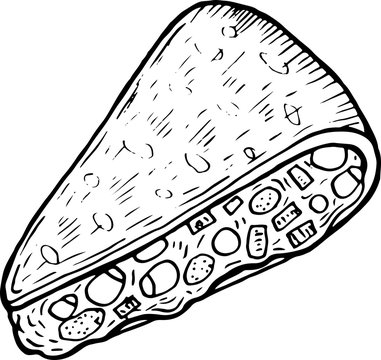 Mexican food quesadilla - coloring page for adults. Ink artwork. Graphic doodle cartoon art. Vector illustration