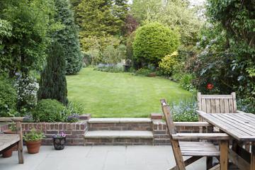 Garden patio and lawn