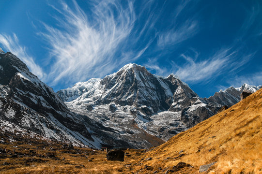 Annapurna Mountain in Nepal on a sunny afternoon