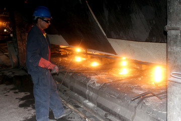 A Libyan worker is seen at the Libyan Iron and Steel Company (Lisco) in Misrata
