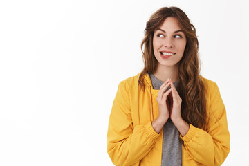Girl scheming evil plan twiddle fingers smirking desire thinking excellent idea how rule world look aside pondering, devious woman have wonderful sheme how trick prank friend, white background Wall mural