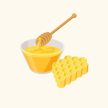 Bowl of honey, honeycombs and wooden dipper isolated on white background vector illustration in flat design.