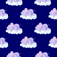 Seamless children's illustration pattern elephant asleep stars clouds moon watercolor illustration digital paper scrapbooking design stickers greeting cards kids textiles