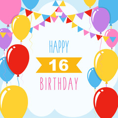 Happy 16th birthday, vector illustration greeting card with balloons and garlands decoration