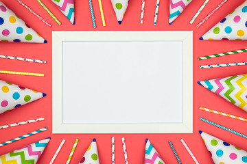 Blank card with colorful party items