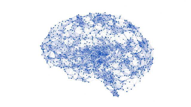 Abstract geometric brain with network connections. 3D render illustration isolated on white background