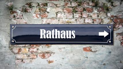 Fototapete - Schild 390 - Rathaus