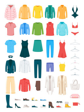 Clothes and accessories vector illustrations set