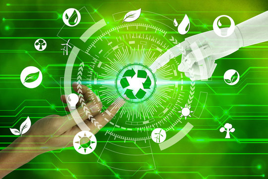 Robot and human hands with touching virtual recycle and environment icons over the network connection on nature background, Artificial Intelligence and Technology ecology concept.