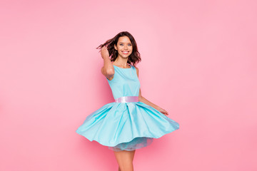 Close up photo beautiful amazing she her dancing prom queen lady meet guests wind flight blow air skirt graduation party wear cute shiny colorful dress isolated pink bright vivid vibrant background