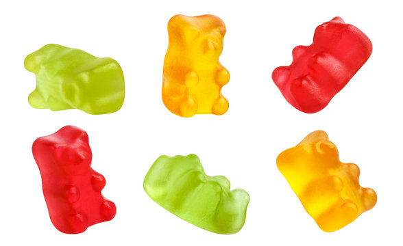 Collection of colorful jelly gummy bears, isolated on white background