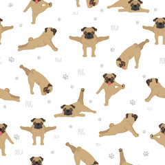 Yoga dogs poses and exercises. Pug seamless pattern