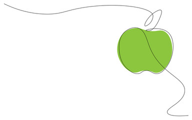 Green apple on white background one line drawing, vector illustration Wall mural