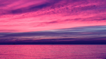 Papiers peints Rose Sunset ocean orange sky horizon