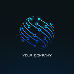 futuristic abstract sphere connection tech circuit board logo template