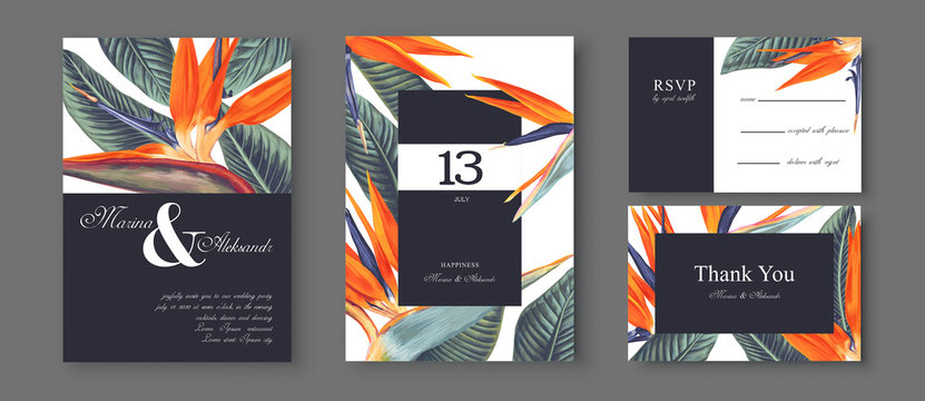Botanical wedding invitation card. Template design with Strelitzia Reginae, tropical flowers and leaves. South African plant, called bird of paradise. Collection of Save the Date and RSVP in vectorEPS