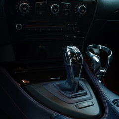Automatic transmission in car. Interior detail.