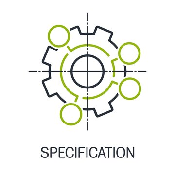 Specifications. Vector linear icon, white background.