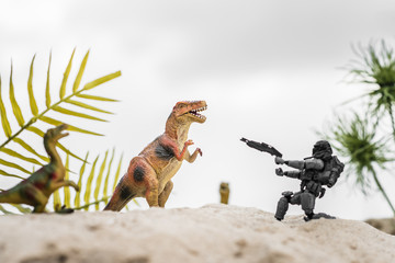 selective focus of plastic toy soldier aiming with gun at toy dinosaur on sand dune with tropical leaves Wall mural