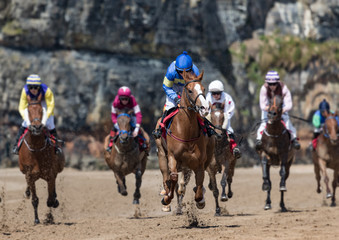 Head on view of galloping race horses and jockeys racing down the track, horse racing action on the beach, west coast of Ireland